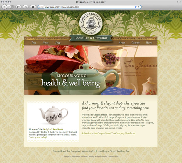 Oregon Street Tea Company website design